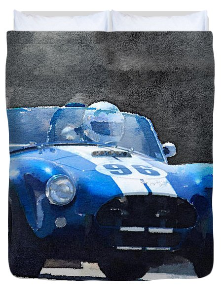 1964 Ac Cobra Shelby Racing Watercolor Duvet Cover