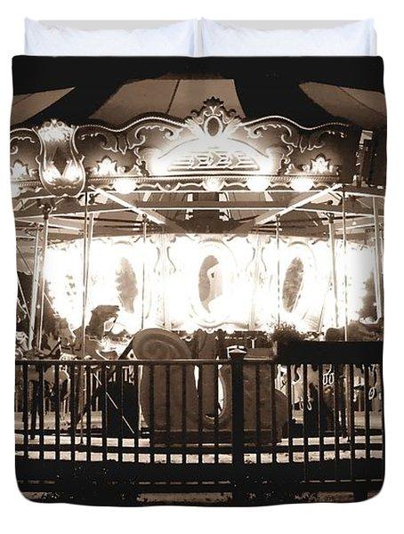 1964 Allan Herschell Carousel Duvet Cover by Debra Forand