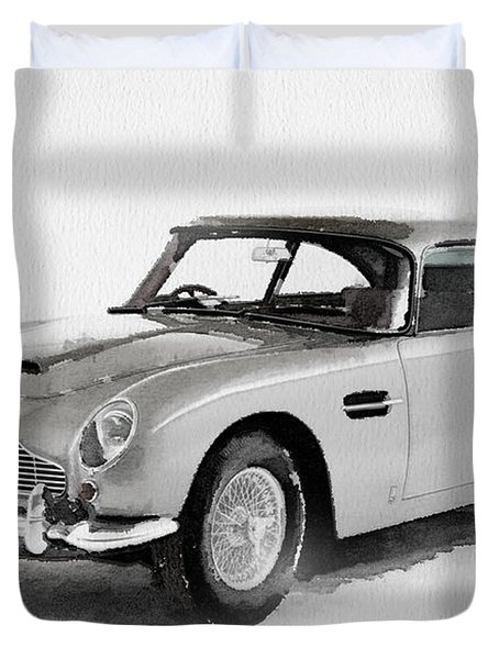 1964 Aston Martin Db5 Watercolor Duvet Cover