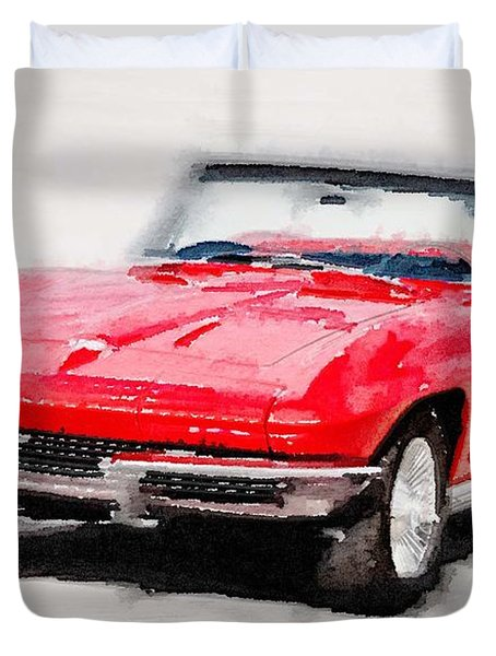 1964 Corvette Stingray Watercolor Duvet Cover