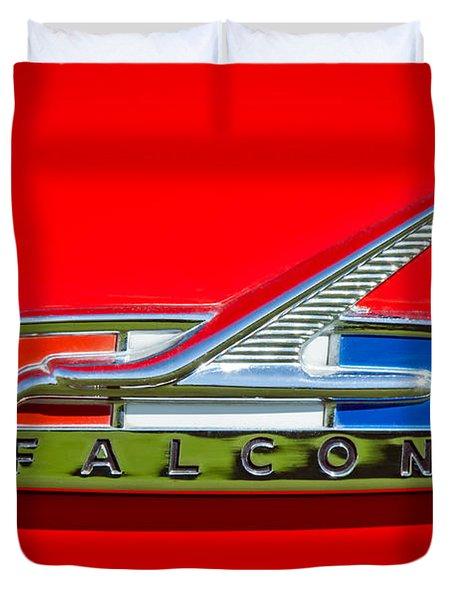 1964 Ford Falcon Emblem Duvet Cover by Jill Reger