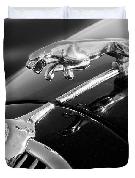 1964 Jaguar Mk2 Saloon Hood Ornament And Emblem Duvet Cover by Jill Reger