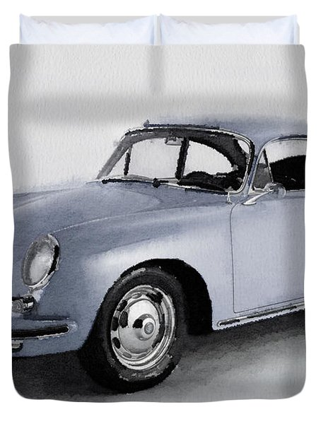 1964 Porsche 356b Watercolor Duvet Cover