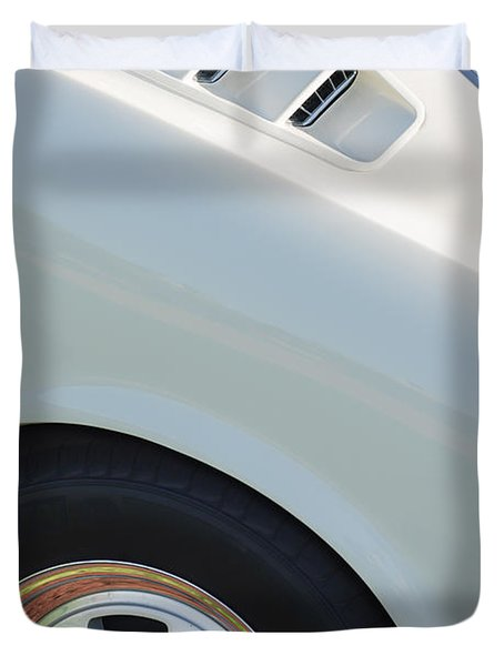 Duvet Cover featuring the photograph 1965 Shelby Mustang Gt350 Wheel Emblem by Jill Reger