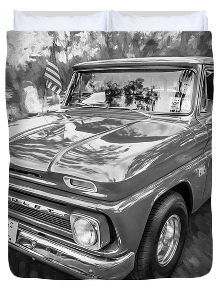 1966 Chevy C10 Pick Up Truck Painted Bw Duvet Cover