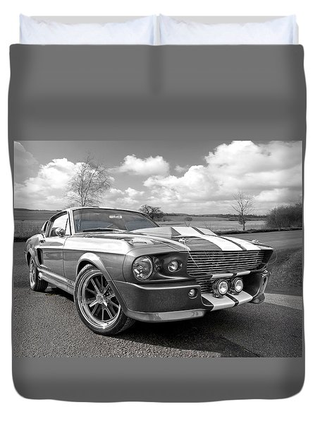 1967 Eleanor Mustang In Black And White Duvet Cover