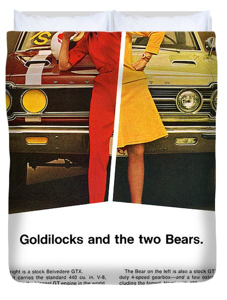 1967 Plymouth Gtx - Goldilocks And The Two Bears. Duvet Cover by Digital Repro Depot