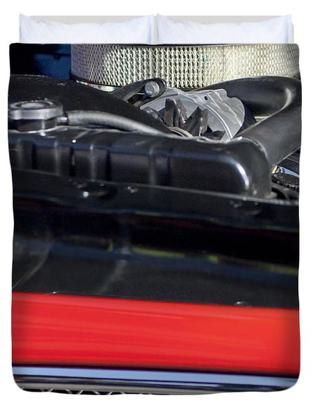 1967 Pontiac Gto Engine Emblem Duvet Cover by Jill Reger