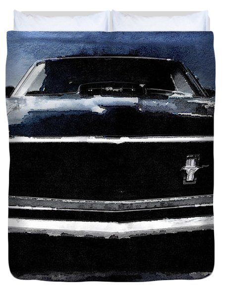 1968 Ford Mustang Shelby Front Watercolor Duvet Cover