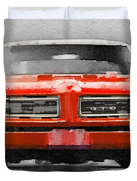 1968 Pontiac Gto Front Watercolor Duvet Cover
