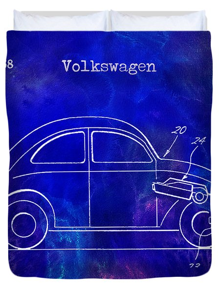 1968 Vw Patent Drawing Blue Duvet Cover