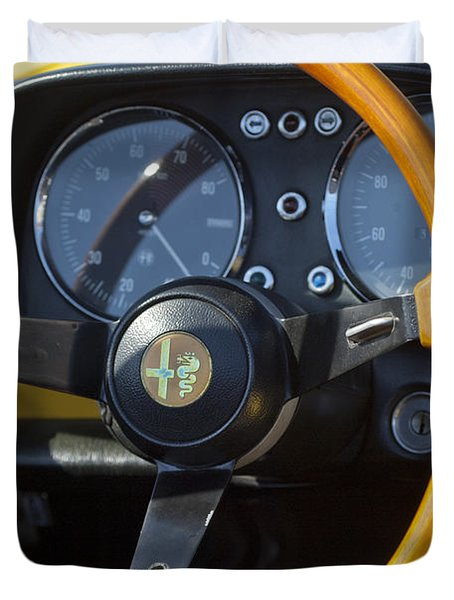 1969 Alfa Romeo 1750 Spider Steering Wheel Duvet Cover by Jill Reger