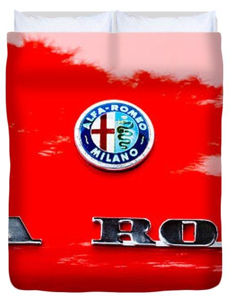 1969 Alfa Romeo Spider Veloce Iniezione Emblem Duvet Cover by Jill Reger