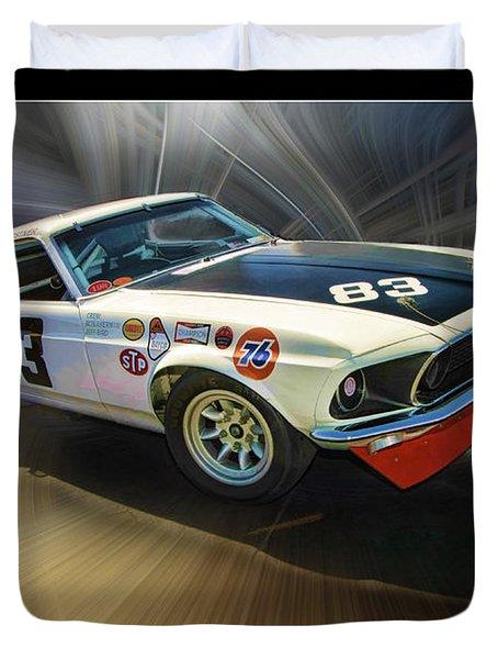 1969 Boss 302 Mustang Duvet Cover