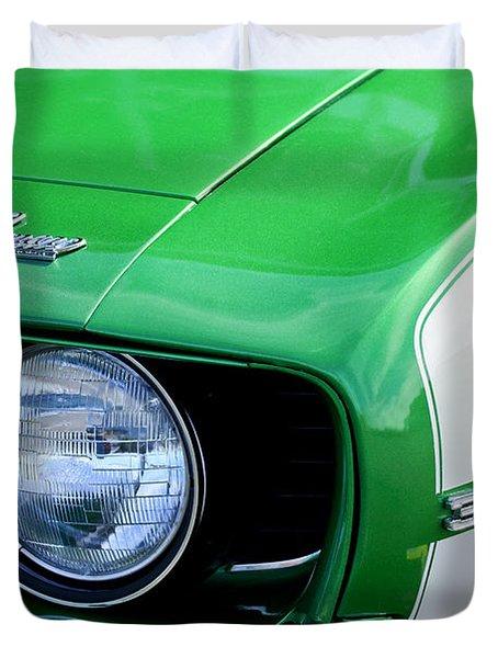 1969 Chevrolet Camaro Ss Headlight Emblems Duvet Cover by Jill Reger
