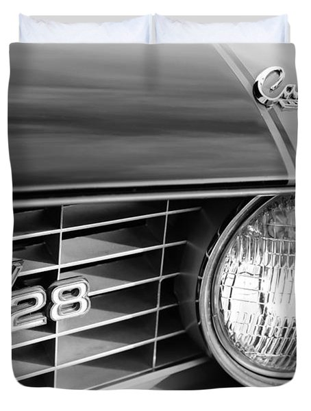 1969 Chevrolet Camaro Z-28 Grille Emblems Duvet Cover by Jill Reger