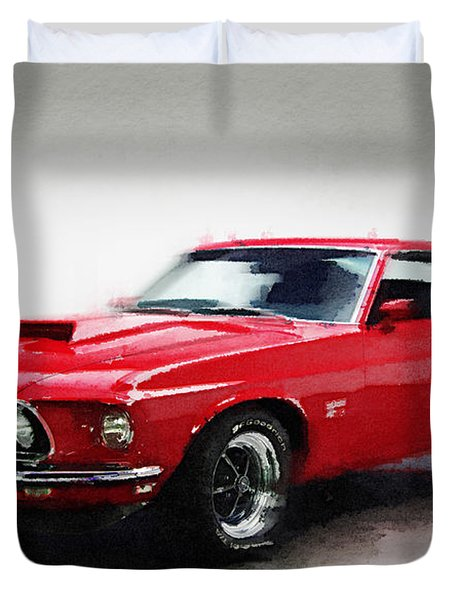 1969 Ford Mustang Watercolor Duvet Cover