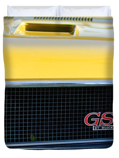 1970 Buick Gs Grille Emblem Duvet Cover by Jill Reger