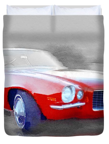 1970 Chevy Camaro Watercolor Duvet Cover