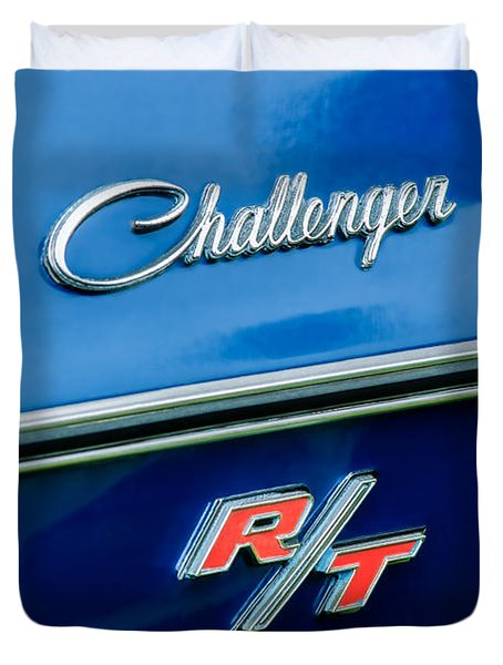 1970 Dodge Challenger Rt Convertible Emblem Duvet Cover by Jill Reger