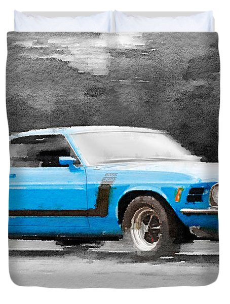 1970 Ford Mustang Boss Blue Watercolor Duvet Cover