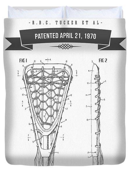 1970 Lacrosse Stick Patent Drawing - Retro Gray Duvet Cover