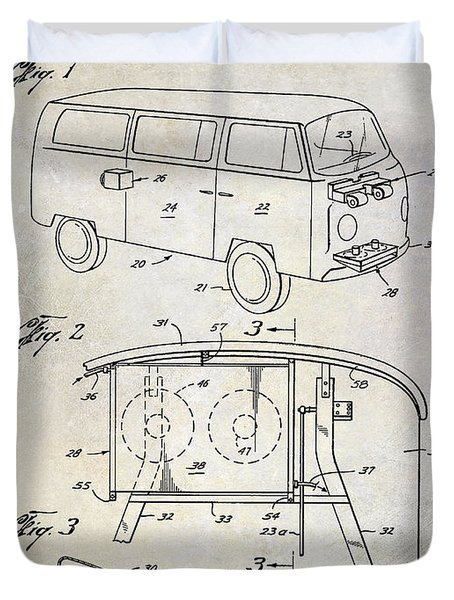 1970 Vw Patent Drawing Duvet Cover