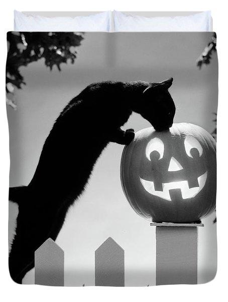 1970s Black Cat And Jack-o-lantern Duvet Cover
