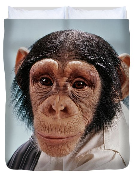 1970s Close-up Face Chimpanzee Looking Duvet Cover