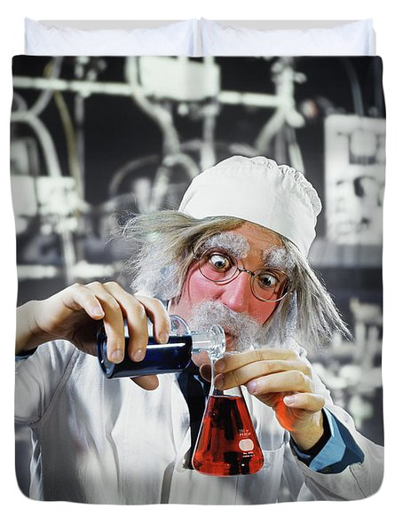 1970s Man Crazy Loony Mad Scientist Duvet Cover