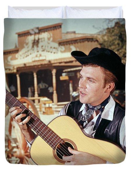 1970s Man Guitar Cowboy Strumming Duvet Cover