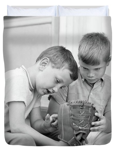 1970s Two Boys Seriously Inspecting New Duvet Cover