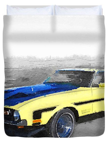 1971 Ford Mustang Boss Watercolor Duvet Cover