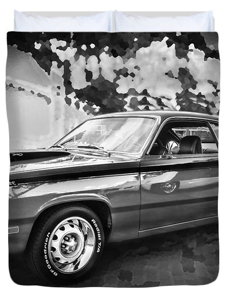1972 Plymouth 340 Duster Bw Duvet Cover