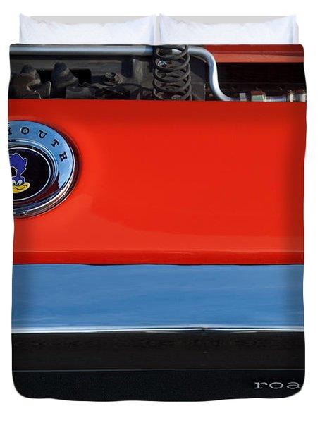 1972 Plymouth Road Runner Hood Emblem Duvet Cover by Jill Reger