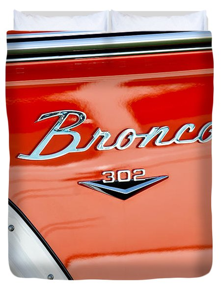 1973 Ford Bronco Custom 2 Door Emblem Duvet Cover by Jill Reger