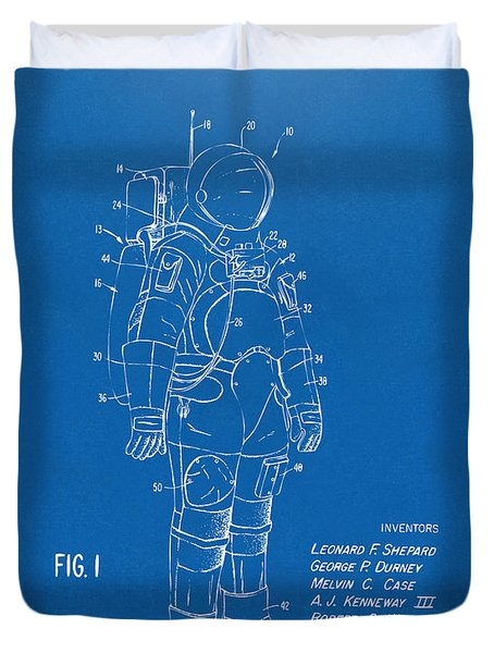 1973 Space Suit Patent Inventors Artwork - Blueprint Duvet Cover by Nikki Marie Smith