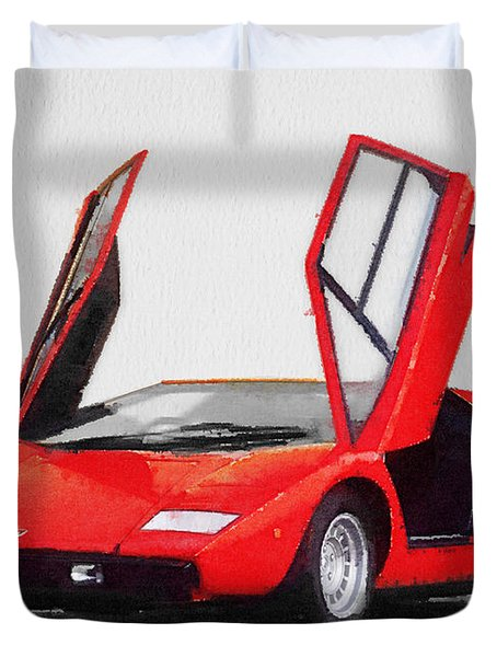 1974 Lamborghini Countach Open Doors Watercolor Duvet Cover