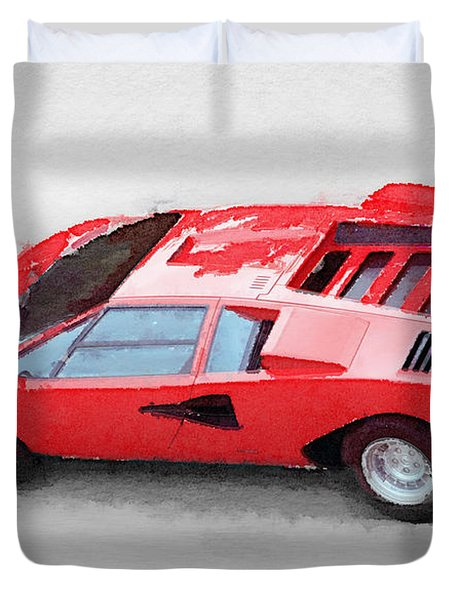 1974 Lamborghini Countach Watercolor Duvet Cover