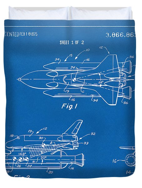 1975 Space Shuttle Patent - Blueprint Duvet Cover