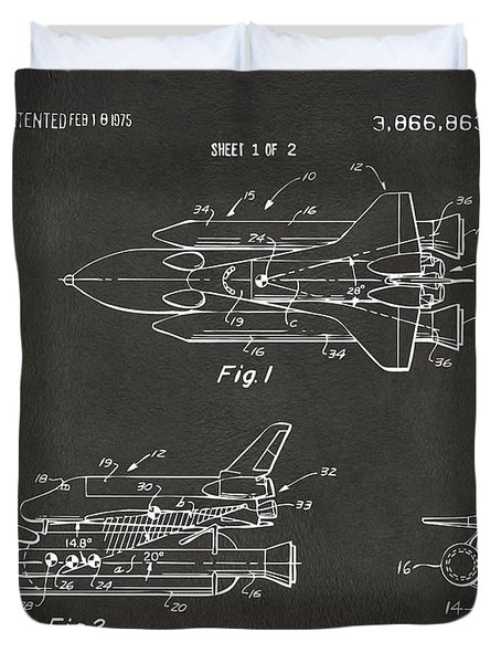 1975 Space Shuttle Patent - Gray Duvet Cover