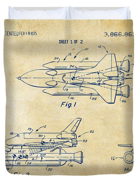 1975 Space Shuttle Patent - Vintage Duvet Cover by Nikki Marie Smith