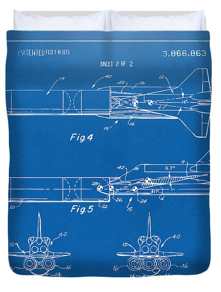 1975 Space Vehicle Patent - Blueprint Duvet Cover by Nikki Marie Smith