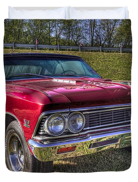 1976 Chevelle Ss 396 Duvet Cover by Debra and Dave Vanderlaan