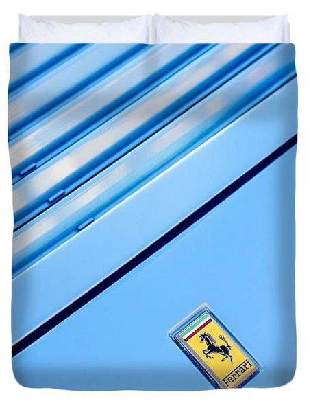 1986 Ferrari 328 Gts Hood Emblem Duvet Cover by Jill Reger
