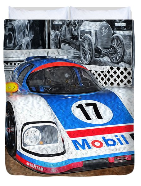 Duvet Cover featuring the painting 1989 Aston Martin Amr1/4 by Boris Mordukhayev