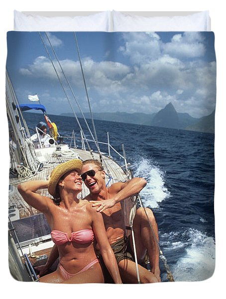 1990s Couple Sitting On Bow Of Sailboat Duvet Cover