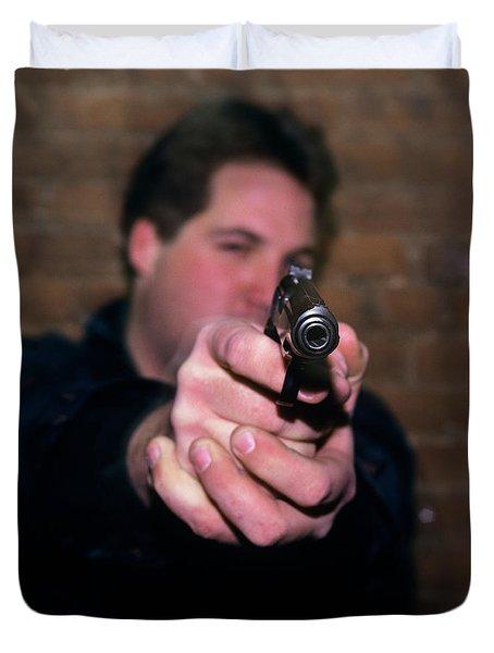 1990s Young Man Looking At Camera Duvet Cover