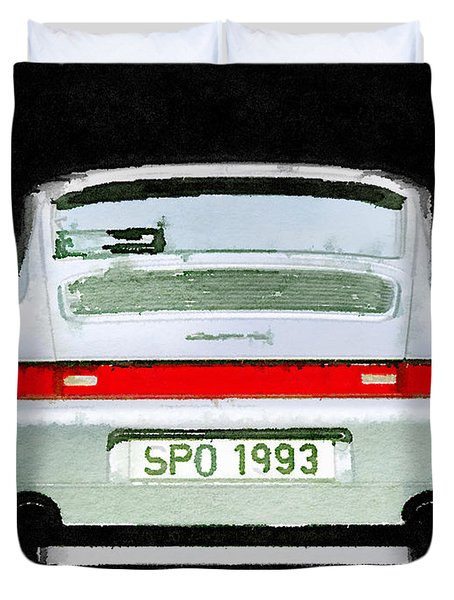 1993 Porsche 911 Rear Watercolor Duvet Cover