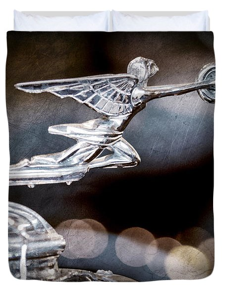 Duvet Cover featuring the photograph 1930 Packard Model 733 Convertible Coupe Hood Ornament by Jill Reger